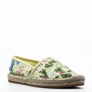 Gucci Yellow Floral Knight Print Canvas Espadrille